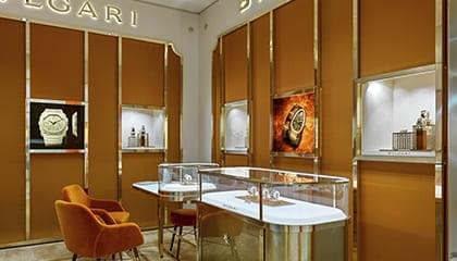 The first BVLGARI watch boutique opened in Moscow in the Vremena Goda Galleries