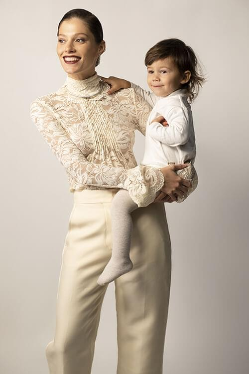 Leon is wearing: Aletta jumper; Tartine et Chocolat tights, everything from Vremena Goda Kids. Irina is wearing: Paco Rabanne (Boutique No. 7) blouse; Dior pants