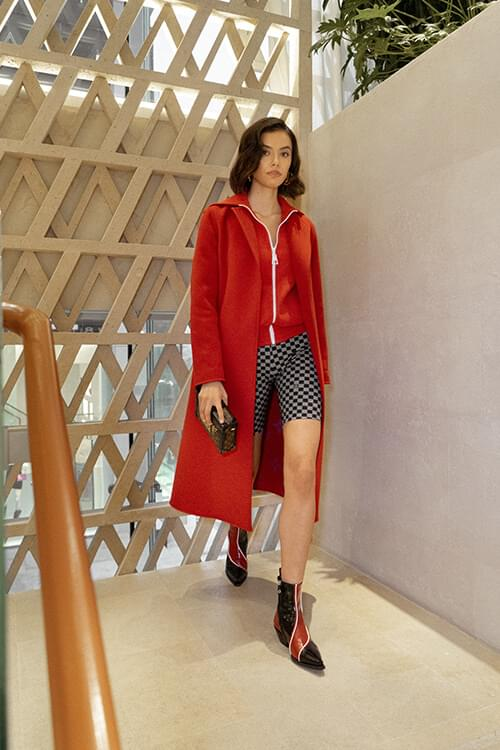 Louis Vuitton coats, sweatshirt, shorts, boots